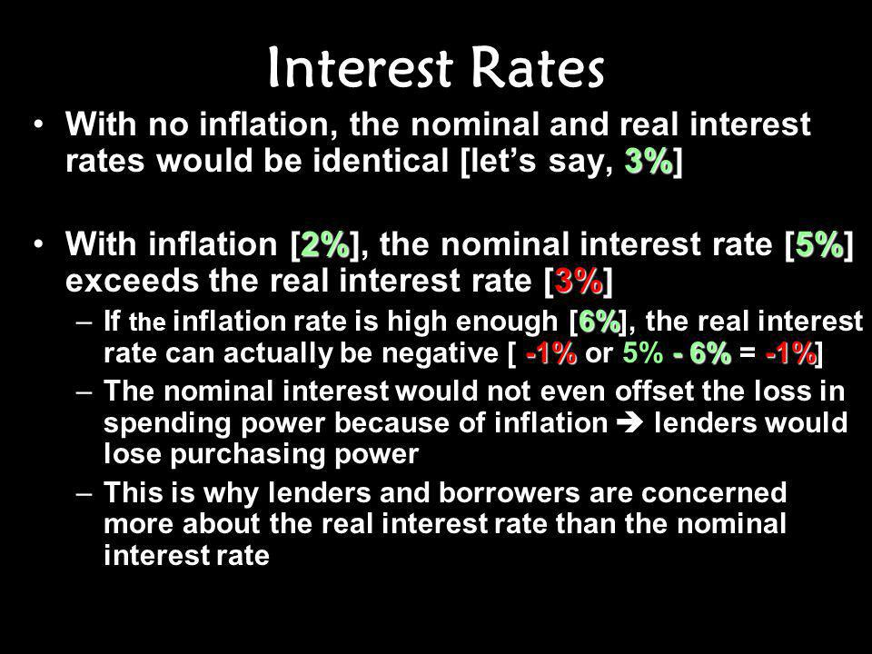Interest Rates With no inflation, the nominal and real interest rates would be identical [let's say, 3%]